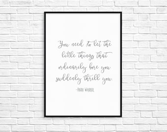 Printable Andy Warhol Calligraphy Quote (Digital File)
