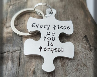 Puzzle piece keyring,  jigsaw puzzle keyring, husband gift couples gift, hand stamped keyring, anniversary gift, wedding gift men's gift
