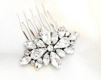 Swarovski Rhinestone Wedding Comb, Swarovski Bridal Comb, Bridal comb, couture handmade bridal hair piece crystal comb