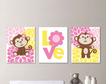 Baby Girl Nursery Art - Girl Nursery Decor - Girl Nursery Print - Monkey Nursery Art - Monkey Art - Monkey Print - Pink Yellow (NS-617)