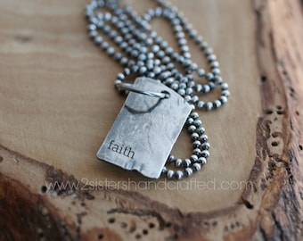 Men's Personalized Dog Tag Necklace Rustic & Irregular Dog Tag, Men's Jewelry, Custom Men's Necklace, Name Initials Necklace - Josh Necklace