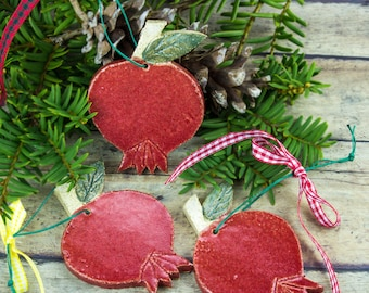Rustic ornament Red Stoneware pomegranate Garden porch decor decoration Woodland Decor, Good Luck gift, Handmade Pottery Fruit, gift for mom