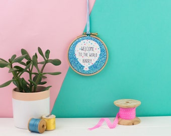 new baby embroidery hoop  - embroidery hoop art - gift for new baby - Personalised sign - Name sign - Baby name - Unique gift - Newborn gift