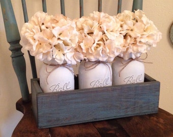 Rustic Blue 3 Piece Mason Jar Centerpiece, Rustic Home Decor, Farmhouse Decor, Mason Jar Planters, Decorative Trays