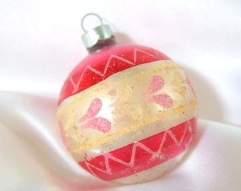 Vintage Red and Silver Christmas Ornament with Pink and Yellow Hearts, USA Ornament
