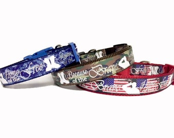 Memorial Day - July 4 - Dog Collar - Brave - Military - Marine - Army - Navy - Handmade - Camo - Summer - BBQ - Patriotic -