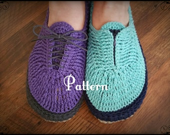 Crochet Womens Slipper Pattern, Walking Slippers for Women size 6 to 11 and wide, tennis shoes, teen, water resistant soles, gift, for her