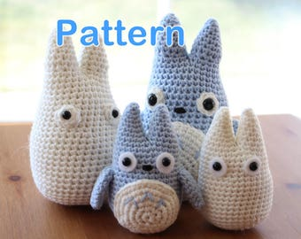 Crochet Amigurumi Cute Totoro (Chu and Chibi) 2 Sizes 4 PDF Patterns in One
