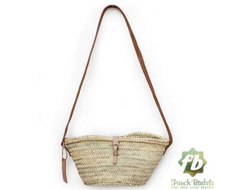 Joséphine mini Basket whit leather natural closure : French Basket, Moroccan Basket, straw bag, french market basket, Beach Bag, straw bag