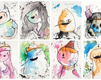 SET of 8 mini prints 5x7 inch inch inkjet print / Adventure Time Fan Art Finn Ice King