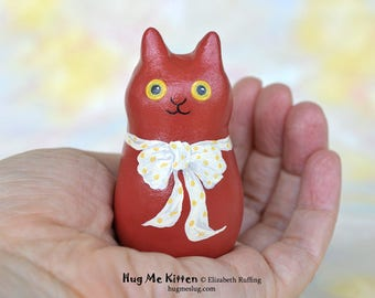 Handmade Kitty Cat Figurine, Miniature Sculpture, Terracotta Red, Yellow, Personalized Tag, Hug Me Kitten, Animal Charm Figure