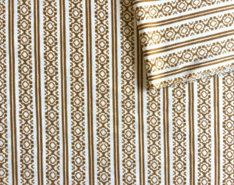 Vintage Fabric 70's White, Gold, Polyester, Geometric, Material, Textiles (64x32)