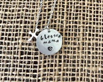 blessed mama cross necklace