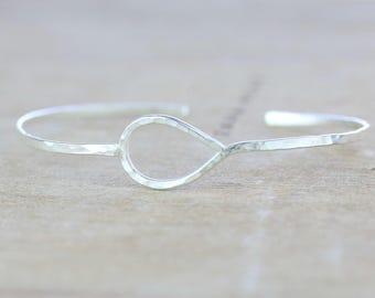 Silver Teardrop Cuff  | Sterling Silver Hammered Cuff Bracelet