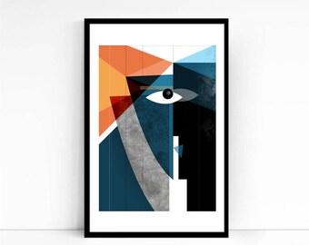 Kiss - Modern Faces Abstract, Geometric Art, Abstract Art Print, Contemporary Art, Bold, Mid Century Modern, Living Room Art, Art Collector