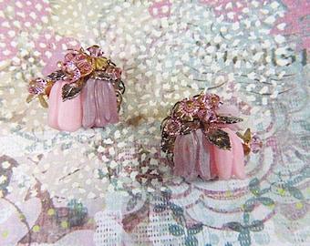 Vintage Art Deco ALICE CAVINESS rose strass et boucle d'oreille Clip de / - V-oreille-588 - Alice Caviness rose boucles d'oreilles - Boucles d'oreilles de Alice Caviness
