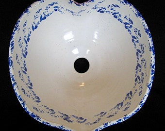 Heart Shaped Blue and White Vessel Sink