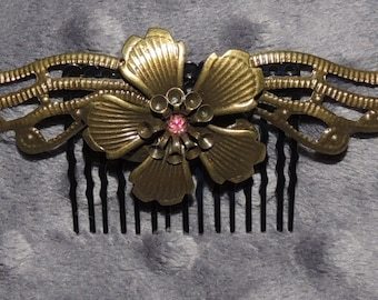 Bronze Tone Flower with Wings Hair Comb with Pink Center Embellishment