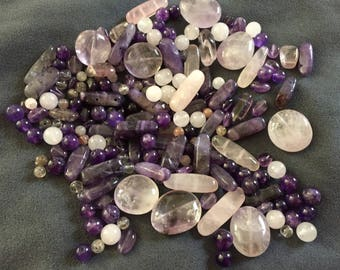 Stones: 30 assorted/mix beads gems 4 to 23 mm, amethyst and rose quartz stones, pink and purple beads, Christmas gift, jewelry