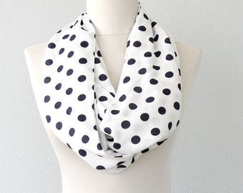 Polka dot scarf white infinity scarf tube scarf circle scarf cotton summer scarves for women gift ideas for her eternity scarf