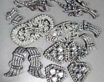 Vintage 1920-30's Rhinestone Package  - Trifari and Unmarked-Duet Pins Clips 13pcs  Etc