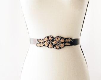 Bridal Black Beaded Sash Belt - Wedding Dress Sashes Belts Satin Ribbon Belt Art Deco Black Gold