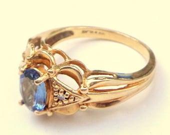 Tanzanite, Solid 14k Yellow Gold, Diamond Ring, Antique, Art Nouveau Setting, Natural, Deep Blue, Tanzanite Gemstone Ring, OOAK
