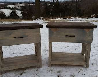 Rustic X Bedside Nightstand - With Drawer
