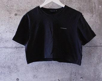 Vintage Club Monaco Simple Black Cropped T-Shirt