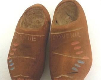 Miniature Wooden Shoes Belgique Belgium Belgian Souvenir