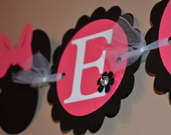 Minnie Mouse Inspired Name Banner - Birthday Party - Room Decor - Customize!