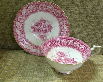 Paragon Pink Rose Teacup & Saucer Set ~ By Appointment To Queen Mary ~ Bone China Tea Set England GORGEOUS FLOWER BOUQUET Vintage Beauty