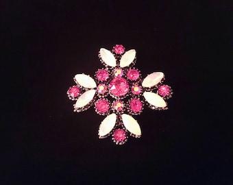WEISS vintage hot pink rhinestone cross brooch pin - antique jewelry, wedding, bridal, iridescent aurora borealis, ab, unique gift
