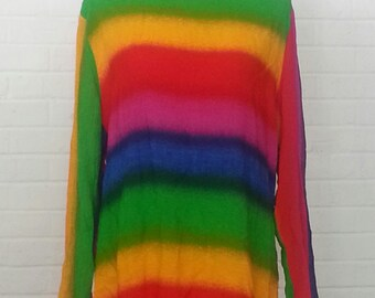Vintage Ali Miles Shirt Rainbow colors  long sleeve vintage size 12 blue green pink yellow hippie gay pride festival