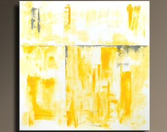 "ORIGINAL ABSTRACT PAINTING 36"" Yellow Gray Painting on Canvas Contemporary Abstract Modern Art wall decor by itarts #SQ23"