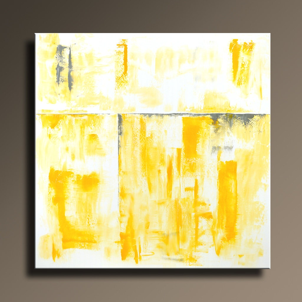 ORIGINAL ABSTRACT PAINTING 36 Yellow Gray Painting on