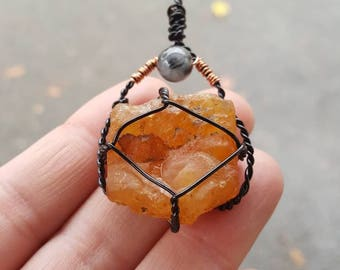 Carnelian gemstone pendant with Rutilated quartz/Wire wrapped Gemstone/Metaphysical Healing Crystals/Orange Rock Jewelry/Chakra Necklace