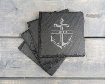 Personalized Slate Coasters | Nautical Anchor | Groomsmen | Slate Coasters | Anchor | Nautical | Coasters | Set of 4 | FREE SHIPPING