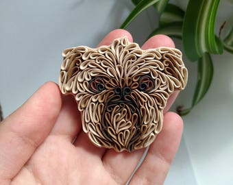 Griffon dog brooch polymer clay dog pin custom pet portrait dog miniature Griffon dog brooch custom dog pin pet brooch dog ornament