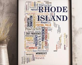 Rhode Island Map Art, Rhode Island Art Print, Rhode Island City Map, Rhode Island Typography Art, Rhode Island Word Cloud