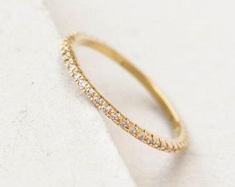 Ultra Thin FULL Eternity Band Ring - Gold - FULL Band  Fashion Ring, Stacking Ring, Wedding Ring, Engagement Ring,