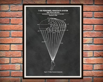 T-10D Military Parachute - US Military Armed Forces - Soldier Wall Art - Paratrooper Art - Army Airborne Assault - Parachute Illustration