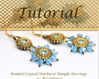 Beaded Earrings Tutorial, Swarovski Rivoli Beaded Starburst Dangle Earrings with Gold Seed Beads and Blue Crystal Bicones .