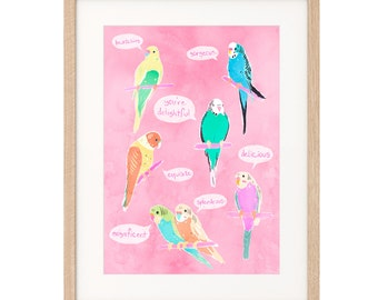 Birds of Endearment - Budgerigar - Art Print - Archival inks & paper
