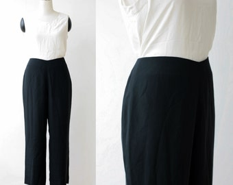 Black Silk Pants Large Saks Fifth Avenue Wide Leg Loose Fit Designer Silk Trousers L