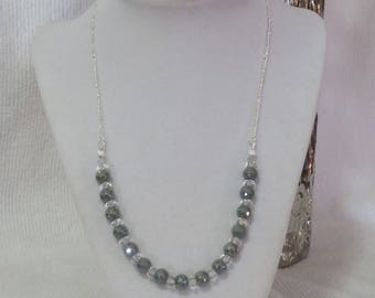 Gray glass and crystal necklace