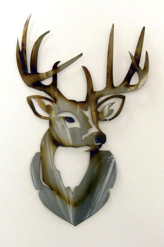 Metal Whitetail Deer in Stainless Steel
