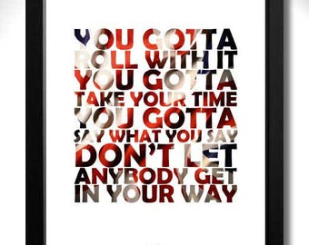OASIS - Roll With It Limited Edition Unframed Art Print with Lyrics