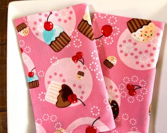Kid's Cloth Lunchbox Napkins, Pink Cupcakes with a Cherry on Top. Set of 2.
