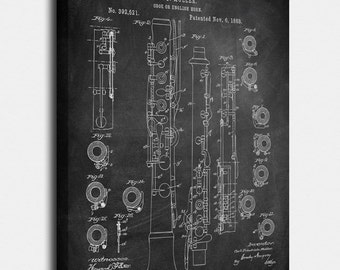 Oboe  Canvas Print, Oboe  Patent,  Vintage Art,  Blueprint,  Poster, PatentPrints, Wall Art, Decor [MU12C]